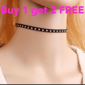 Jewelry - Black faux leather choker Gold  plated gothic punk